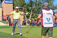 Kevin Chappell (USA) tosses his putter in the air after sinking an 8 foot birdie putt to win the 2017 Valero Texas Open, AT&amp;T Oaks Course, TPC San Antonio, San Antonio, Texas, USA. 4/23/2017.<br /> Picture: Golffile | Ken Murray<br /> <br /> <br /> All photo usage must carry mandatory copyright credit (&copy; Golffile | Ken Murray)