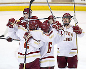 Brian Dumoulin (BC - 2), Patrick Wey (BC - 6), Chris Kreider (BC - 19) - The Boston College Eagles defeated the University of Massachusetts-Amherst Minutemen 3-2 to take their Hockey East Quarterfinal matchup in two games on Saturday, March 10, 2012, at Kelley Rink in Conte Forum in Chestnut Hill, Massachusetts.
