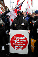 English Defence League (EDL) demonstration<br /> called in protest to the proposed building of a new mosque in Dudley.<br /> A male supporter of the English Defence League wearing a women's burqa.