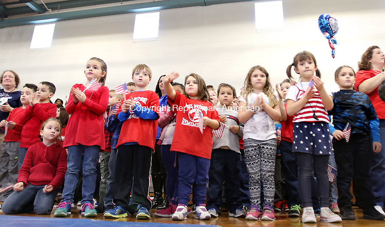 TORRINGTON CT. 14 November 2016-110816SV03-Students cheer for veterans as they enter during the annual Veterans Day celebration event at Vogel-Wetmore School in Torrington Monday.<br /> Steven Valenti Republican-American