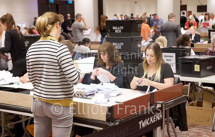 General Election count for the Twickenham &amp; Richmond Park constituencies at the Twickenham Rugby Stadium, Twickenham, Middlesex, Great Britain <br /> 8th June 2017 <br /> <br /> The first ballot papers being counted <br /> <br /> Photograph by Elliott Franks <br /> Image licensed to Elliott Franks Photography Services