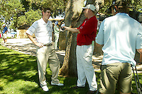21 May 2005: Stanford Cardinal Rob Grube is interviewed by the Golf Channel during the 2005 NCAA Men's Golf Western Regional at the Stanford Golf Course in Stanford, CA. Grube shot a 5-under 65 to win the individual title.