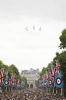 Aircraft<br /> RAF centenary fly-past at Buckingham Palace, The Mall, London England on July 10, 2018.<br /> CAP/PL<br /> &copy;Phil Loftus/Capital Pictures
