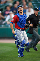 Toronto Blue Jays catcher Luke Maile (52), on rehab assignment with the Buffalo Bisons, keeps an eye on a foul ball popup during a game against the Rochester Red Wings on August 25, 2017 at Frontier Field in Rochester, New York.  Buffalo defeated Rochester 2-1 in eleven innings.  (Mike Janes/Four Seam Images)