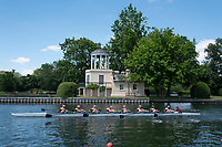 "Henley on Thames, United Kingdom, 22nd June 2018, Friday,   ""Henley Women's Regatta"",  view, The Temple, [Folly] on Temple Isand, Blurred Rowing Eight, Slow Shutter, Henley Reach, Thames Valley,  River Thames, England, © Peter SPURRIER"