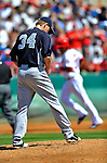 12 March 2011: New York Yankees' pitcher A.J. Burnett walks up the mound after serving up a 2-run homer to Michael Morse during a Spring Training game against the Washington Nationals at Space Coast Stadium in Viera, Florida. The Nationals edged out the Yankees 6-5 in Grapefruit League action. Mandatory Credit: Ed Wolfstein Photo