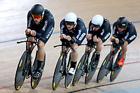 Hugo Jones, Dylan Kennett, Tom Sexton and Pieter Bulling during training, Avantidrome, Home of Cycling, Cambridge, New Zealand, Friday, March 17, 2017. Mandatory Credit: © Dianne Manson/CyclingNZ  **NO ARCHIVING**