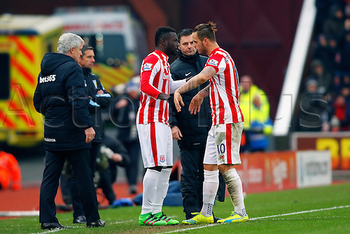 27.02.2016. Britannia Stadium, Stoke, England. Barclays Premier League. Stoke City versus Aston Villa. Mame Biram Diouf of Stoke City replaces goal scorer Marko Arnautovic of Stoke City