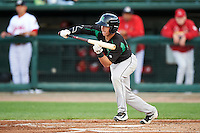 Dayton Dragons designated hitter Shane Mardirosian (13) squares to bunt during a game against the Peoria Chiefs on May 6, 2016 at Dozer Park in Peoria, Illinois.  Peoria defeated Dayton 5-0.  (Mike Janes/Four Seam Images)