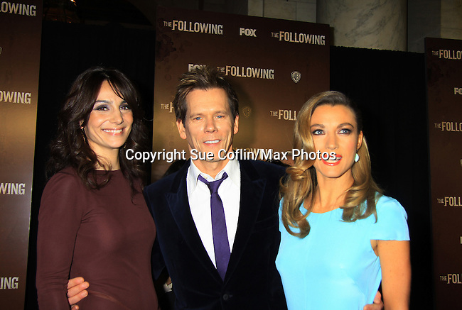 "Guiding Light's Kevin Bacon ""Tim Werner"" (Search For Tomorrow) poses with As The World Turns' Annie Parisse ""Julia"" and Passions' Natalie Zea ""Gwen Hotchkiss"" as they star in ""The Following"", Fox's new tv series on Mondays and Kevin's first tv series, which held its world premiere on January 19, 2013 at the New York Public Library, New York City, New York. The characters they play are: Kevin - FBI agent ""Ryan Hardy"", Annie - (Kevin's) right hand FBI agent ""Debra Parker"" and Natalie - ""Claire Matthews"" who is the love interest of ""Ryan"" and ex-wife of ""serial killer"" James Purefoy. (Photo by Sue Coflin/Max Photos)"