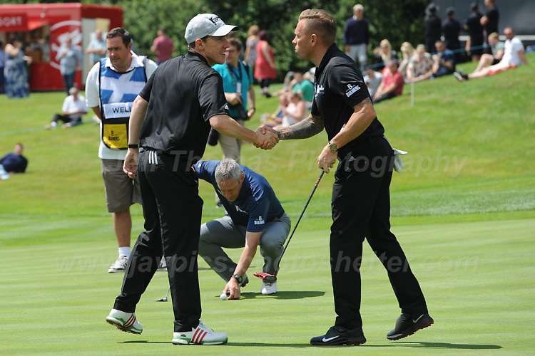 Tv personality Rob Brydon and former Wales International footballer Craig Bellamy during The 2017 Celebrity Cup at the Celtic Manor Resort, Newport, South Wales, 01.07.2017<br /> <br /> <br /> Jeff Thomas Photography -  www.jaypics.photoshelter.com - <br /> e-mail swansea1001@hotmail.co.uk -<br /> Mob: 07837 386244 -