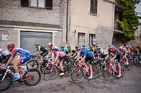 the peloton with Maglia Rosa / overall leader Valerio Conti (ITA/UAE-Emirates) rolling through town<br /> <br /> Stage 8: Tortoreto Lido to Pesaro (239km)<br /> 102nd Giro d'Italia 2019<br /> <br /> ©kramon