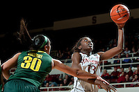 STANFORD, CA-JANUARY 5, 2012 - Chiney Ogwumike adds two to the score during PAC-12 conference play against the University of Oregon. The Cardinal won the game 93-70.