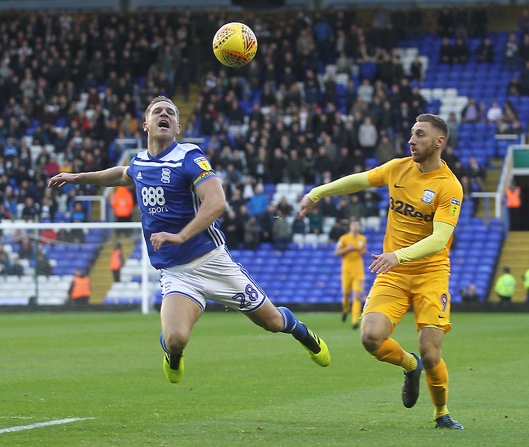 Preston North End's Louis Moult in action with Birmingham City's Michael Morrison<br /> <br /> Photographer Mick Walker/CameraSport<br /> <br /> The EFL Sky Bet Championship - Birmingham City v Preston North End - Saturday 1st December 2018 - St Andrew's - Birmingham<br /> <br /> World Copyright &copy; 2018 CameraSport. All rights reserved. 43 Linden Ave. Countesthorpe. Leicester. England. LE8 5PG - Tel: +44 (0) 116 277 4147 - admin@camerasport.com - www.camerasport.com