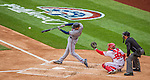 4 April 2014: Atlanta Braves first baseman Freddie Freeman connects during the Washington Nationals Home Opening Game at Nationals Park in Washington, DC. The Braves edged out the Nationals 2-1 in their first meeting of the 2014 MLB season. Mandatory Credit: Ed Wolfstein Photo *** RAW (NEF) Image File Available ***