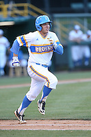 Aaron Weimer # 47 of the UCLA Bruins runs to first base during a game against the Stanford Cardinal at Jackie Robinson Stadium on May 2, 2014 in Los Angeles, California. UCLA defeated Stanford, 7-2. (Larry Goren/Four Seam Images)