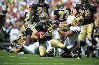 14 September 2008:  Redskins DE Jason Taylor (55) sacks Saints QB Drew Brees (9) for his first sack as a Redskin.  The Washington Redskins defeated the New Orleans Saints 29-24 at FedEx Field in Landover, MD.