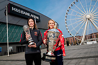 Picture by Alex Whitehead/SWpix.com - 18/04/2019 - RLWC2021 + NWC2019 - M&S Bank Arena, Liverpool, England - Jodie Cunningham (Rugby League World Cup 2021 Women's Ambassador) and Jade Clarke (Netball World Cup 2019 Ambassador) pictured outside the M&S Bank Arena in Liverpool.