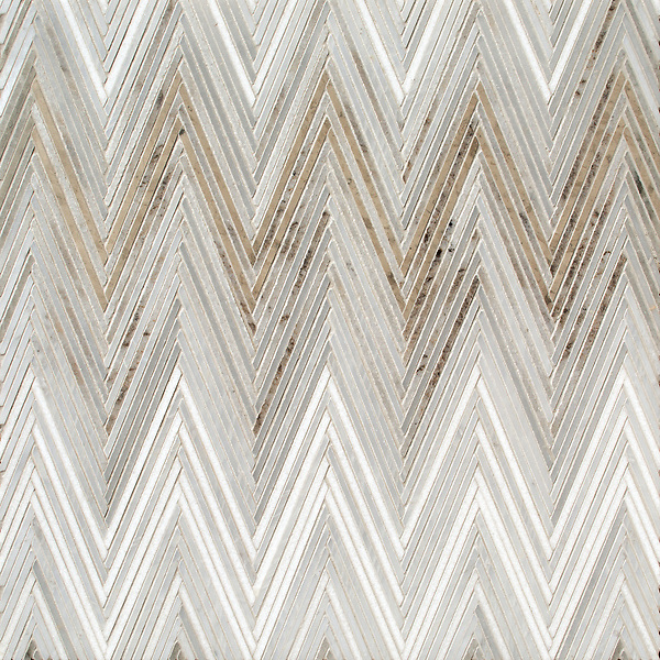 Twill Ombre, a hand-cut stone mosaic, shown in honed Palomar and Cashmere and polished Calacatta Radiance, Bardiglio,  and Thassos, is part of the Tissé® collection for New Ravenna.