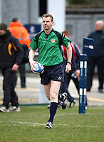 4 March 2013; Referee Stuart Gaffikin runs out to tale charge of the schools cup semi-final clash between RBAI and Ballyclare High School at Ravenhill Belfast. Photo Credit : John Dickson / DICKSONDIGITAL