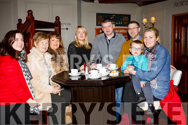 Attending the coffee morning in aid of the Hope Foundation in the Meadowland Hotel on Saturday morning, l-r, Eimear O'Daly, Rita O'Rahilly, Mairead Moriarty, Aedemar O'Regan, Garoid O'Regan, John Drummy, Maeve O'Rahilly and Kaelan Dunne.