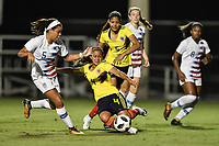 Lakewood Ranch, FL - Wednesday, October 10, 2018:   Mia Fishel, Paula Gomez during a U-17 USWNT match against Colombia.  The U-17 USWNT defeated Colombia 4-1.
