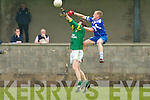 Annascaul's Emmet Kennedy finds the height over Finuge's Conor Glavin in the divion 2 clash at Paddy Kennedy Memorial Park in Annascual on Sunday.   Copyright Kerry's Eye 2008