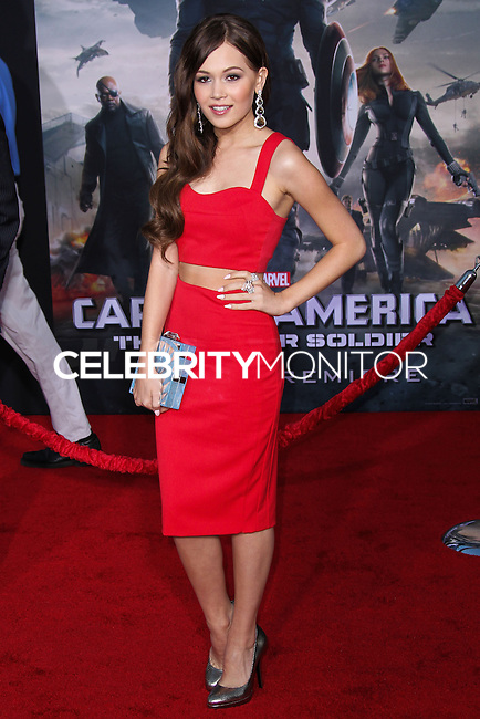 "HOLLYWOOD, LOS ANGELES, CA, USA - MARCH 13: Kelli Berglund at the World Premiere Of Marvel's ""Captain America: The Winter Soldier"" held at the El Capitan Theatre on March 13, 2014 in Hollywood, Los Angeles, California, United States. (Photo by Xavier Collin/Celebrity Monitor)"