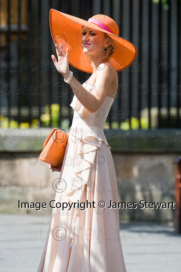 CORONATION STREET STAR KATHERINE KELLY ARRIVES AT CANONGATE KIRK IN EDINBURGH AFTER THE WEDDING OF ZARA PHILLIPS AND MIKE TINDALL