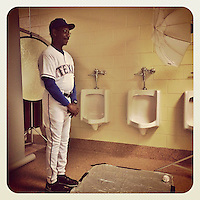 SURPRISE, AZ - FEBRUARY 25:  Instagram of manager Ron Washington of the Texas Rangers posing for a picture in a bathroom on photo day during spring training at Surprise Stadium on February 25, 2014 in Surprise, Arizona. Photo by Brad Mangin
