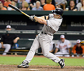 New York Yankees designated hitter Travis Hafner (33) homers in the ninth inning to tie the game against the Baltimore Orioles at Oriole Park at Camden Yards in Baltimore, Maryland on Monday, May 20, 2013.  The Yankees won the game 6 - 4..Credit: Ron Sachs / CNP.(RESTRICTION: NO New York or New Jersey Newspapers or newspapers within a 75 mile radius of New York City)