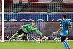 09.06.2020, xtgx, Fussball 3. Liga, Hallescher FC - SV Waldhof Mannheim emspor, v.l. Timo Koenigsmann (Waldhof Mannheim, 1) streckt sich nach dem Ball, Julian Guttau (Halle, 24) (nib) schiesst Tor, Torschuetze, erzielt Tor, Treffer, scores the goal 3:0 beim Spiel in der 3. Liga, Hallescher FC - SV Waldhof Mannheim.<br /> <br /> Foto © PIX-Sportfotos *** Foto ist honorarpflichtig! *** Auf Anfrage in hoeherer Qualitaet/Aufloesung. Belegexemplar erbeten. Veroeffentlichung ausschliesslich fuer journalistisch-publizistische Zwecke. For editorial use only. DFL regulations prohibit any use of photographs as image sequences and/or quasi-video.