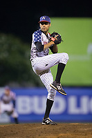Kannapolis Intimidators relief pitcher Kevin Escorcia (5) in action against the Delmarva Shorebirds at Kannapolis Intimidators Stadium on July 3, 2017 in Kannapolis, North Carolina.  The Shorebirds defeated the Intimidators 5-2.  (Brian Westerholt/Four Seam Images)