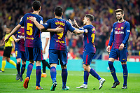 FC Barcelona Sergio Busquets, Luis Suarez, Phillippe Coutinho and Gerard Pique Celebrating a goal during King's Cup Finals match between Sevilla FC and FC Barcelona at Wanda Metropolitano in Madrid, Spain. April 21, 2018. (ALTERPHOTOS/Borja B.Hojas)