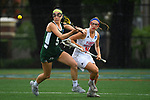 TAMPA, FL - MAY 20: Monica Sanna #5 of the Le Moyne Dolphins and Emily Santoli #10 of the Florida Southern Mocs battle for the ball during the Division II Women's Lacrosse Championship held at the Naimoli Family Athletic and Intramural Complex on the University of Tampa campus on May 20, 2018 in Tampa, Florida. Le Moyne defeated Florida Southern 16-11 for the national title. (Photo by Jamie Schwaberow/NCAA Photos via Getty Images)