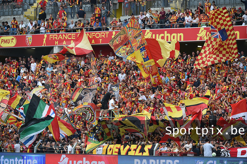 20190803 - LENS , FRANCE : illustration picture shows the fans of RC Lens pictured during the soccer match between Racing Club de LENS and En Avant Guingamp , on the second matchday in the French Dominos pizza Ligue 2 at the Stade Bollaert Delelis stadium , Lens . Saturday 3 th August 2019 . PHOTO DIRK VUYLSTEKE | SPORTPIX.BE
