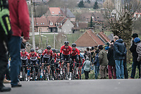 Team Lotto Soudal leading the peloton up the 1st climb of the day: the Wolvenberg. <br /> <br /> 61th E3 Harelbeke (1.UWT)<br /> Harelbeke - Harelbeke (206km)
