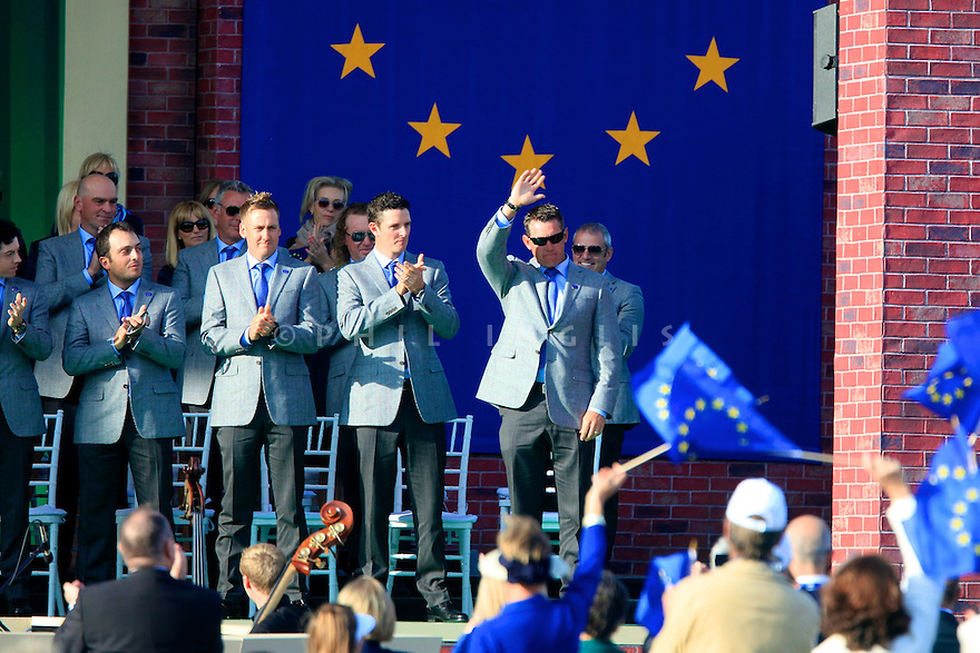 Lee Westwood of Team Europe during the opening ceremony of the 39th Ryder Cup matches, Medinah Country Club, Chicago, Illinois, USA.  28-30 September 2012 (Picture Credit / Phil Inglis)