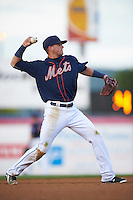 Binghamton Mets shortstop Gavin Cecchini (2) throws to first during a game against the Trenton Thunder on August 8, 2015 at NYSEG Stadium in Binghamton, New York.  Trenton defeated Binghamton 4-2.  (Mike Janes/Four Seam Images)