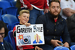 Cardiff - UK - 6th September :<br />Wales v Azerbaijan European Championship 2020 qualifier at Cardiff City Stadium.<br />Gareth Bale fan with placard ahead of kick off.<br /><br />Editorial use only