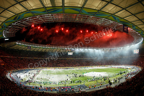 Jul 9, 2006; Berlin, GERMANY; Fireworks light up the night sky following the trophy presentation during the final of the 2006 FIFA World Cup at the Olympiastadion, Berlin. Italy defeated France 5-3 on penalty kicks following a 1-1 draw after extra time to win the World Cup. Mandatory Credit: Ron Scheffler-US PRESSWIRE Copyright © Ron Scheffler