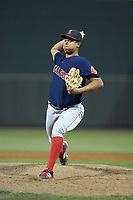 Salem Red Sox starting pitcher Bryan Mata (34) in action against the Winston-Salem Dash at BB&T Ballpark on April 20, 2018 in Winston-Salem, North Carolina.  The Red Sox defeated the Dash 10-3.  (Brian Westerholt/Four Seam Images)