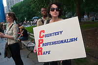 New York, NY -  27 May 2011 - A coalition of concerned New Yorkers, feminists, women's rights advocates, human rights advocates, gathered outside Manhattan Criminal Court at 100 Centre Street and then marched throughout Lower Manhattan in protest of the acquittal of two New York City police officers tried for rape.Kenneth Morreno and Franklin Mata were charged with raping a woman in 2008 but were acquitted of the more serious charge. However, the officers were found guilty of the much lesser charges of official misconduct. They are scheduled to be sentenced June 29 and could face up to two years in prison, though they might only get probation.
