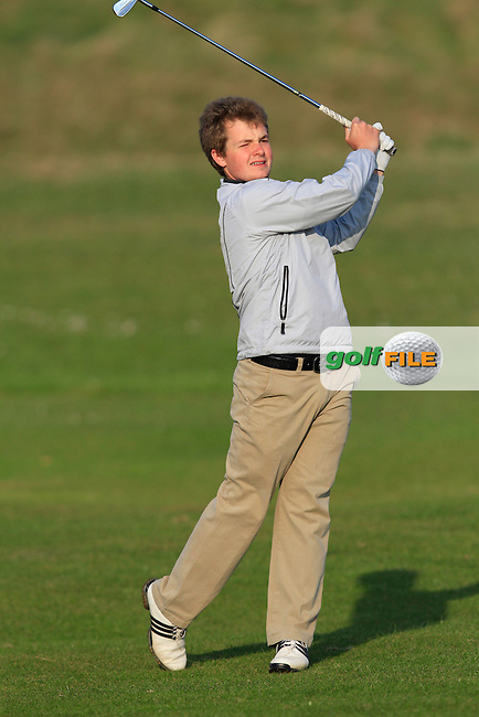 Jack Hume (Naas) on the 1st during the Semi-Finals of The West of Ireland Amateur Open in Co. Sligo Golf Club on Tuesday 22nd April 2014.<br /> Picture:  Thos Caffrey / www.golffile.ie