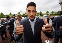 Wednesday 07 May 2014<br /> Pictured: Neil Taylor arriving. <br /> Re: Swansea City's annual awards dinner the Liberty Stadium, Swansea, south Wales.