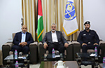 Palestinian Hamas chief in the Gaza strip Ismail Haniyeh, visits the Palestinian Police Station, in Gaza city on September 16, 2019. Photo by Hamas Media Office