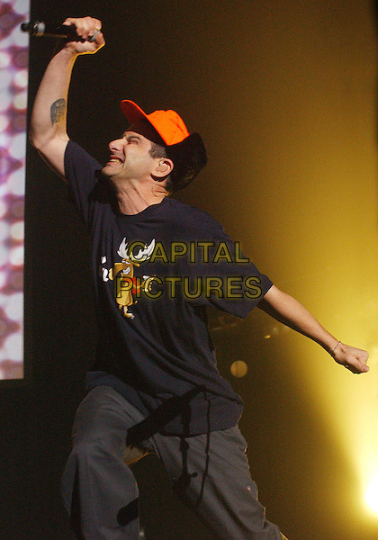 ADAM HOROVITZ of the BEASTIE BOYS.Beastie Boys Get Out And Vote 08 Tour held at the Chevrolet Centre, Youngstown, Ohio, USA, .29 October 2008..half length band live on stage concert gig orange cap hat black t-shirt music funny pose posing.CAP/ADM/JLN.©Jason L Nelson/Admedia/Capital Pictures