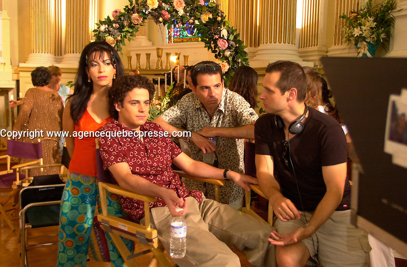 Claudia Ferri, Luke Kerby, actor (L), Steve Galluccio (M) and Emile Gaudreault on<br />  the set of MAMBO ITALIANO ,Directed by Emile Gaudreault and co-written with Steve Galluccio , based on his  theater play.<br /> <br /> The son of Italian immigrants to Canada struggles to find the best way to reveal to his parents that he's gay<br /> <br /> photo : (c)  Images Distribution