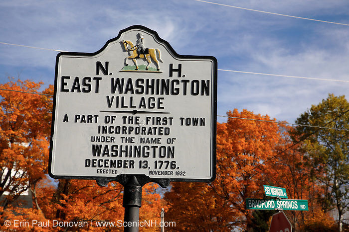 East Washington Village sign during the autumn months. Located in East Washington, New Hampshire, USA .Notes:.Washington is the first town incorperated under the name of George Washington