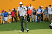 Bernd Wiesberger (AUT) on the 18th green during Round 3 of the Maybank Malaysian Open at the Kuala Lumpur Golf & Country Club on Saturday 7th February 2015.<br /> Picture:  Thos Caffrey / www.golffile.ie